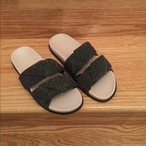NEW! ZARA Shiny Shimmer Fabric Sandals